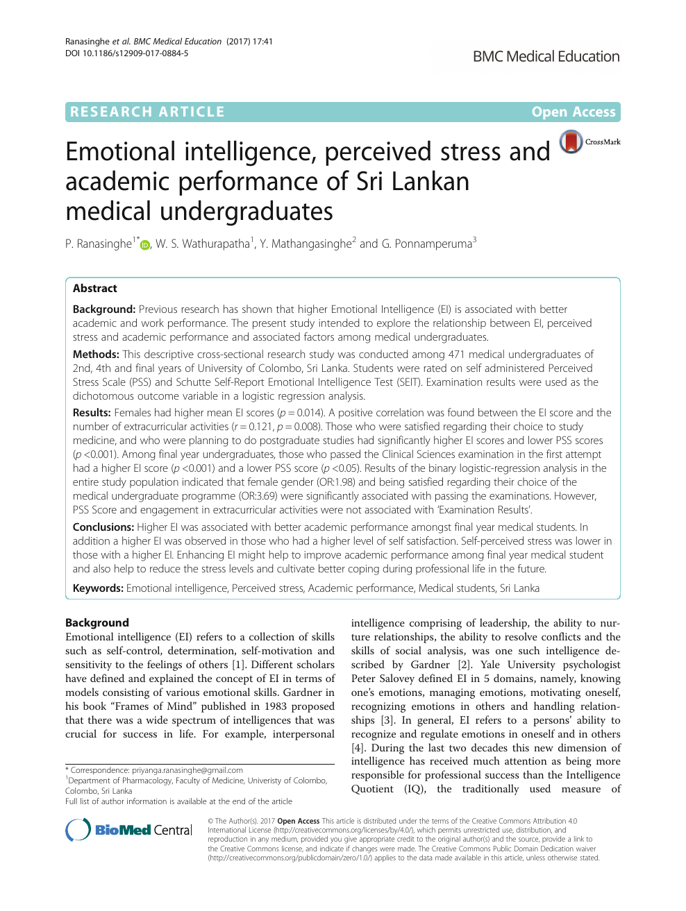 Emotional intelligence, perceived stress and academic performance of