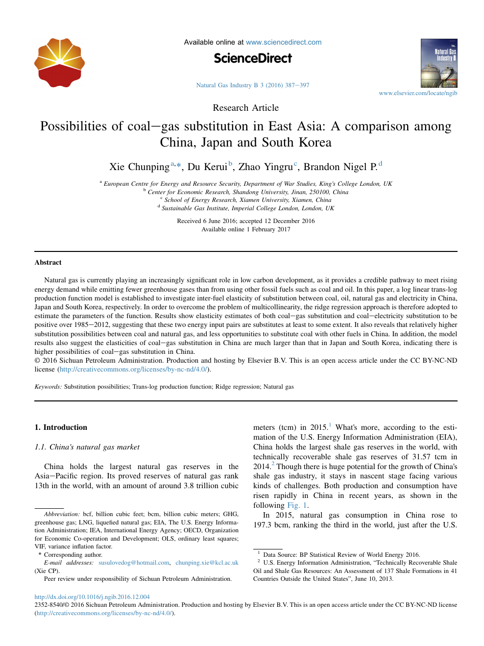Possibilities of coal–gas substitution in East Asia: A comparison