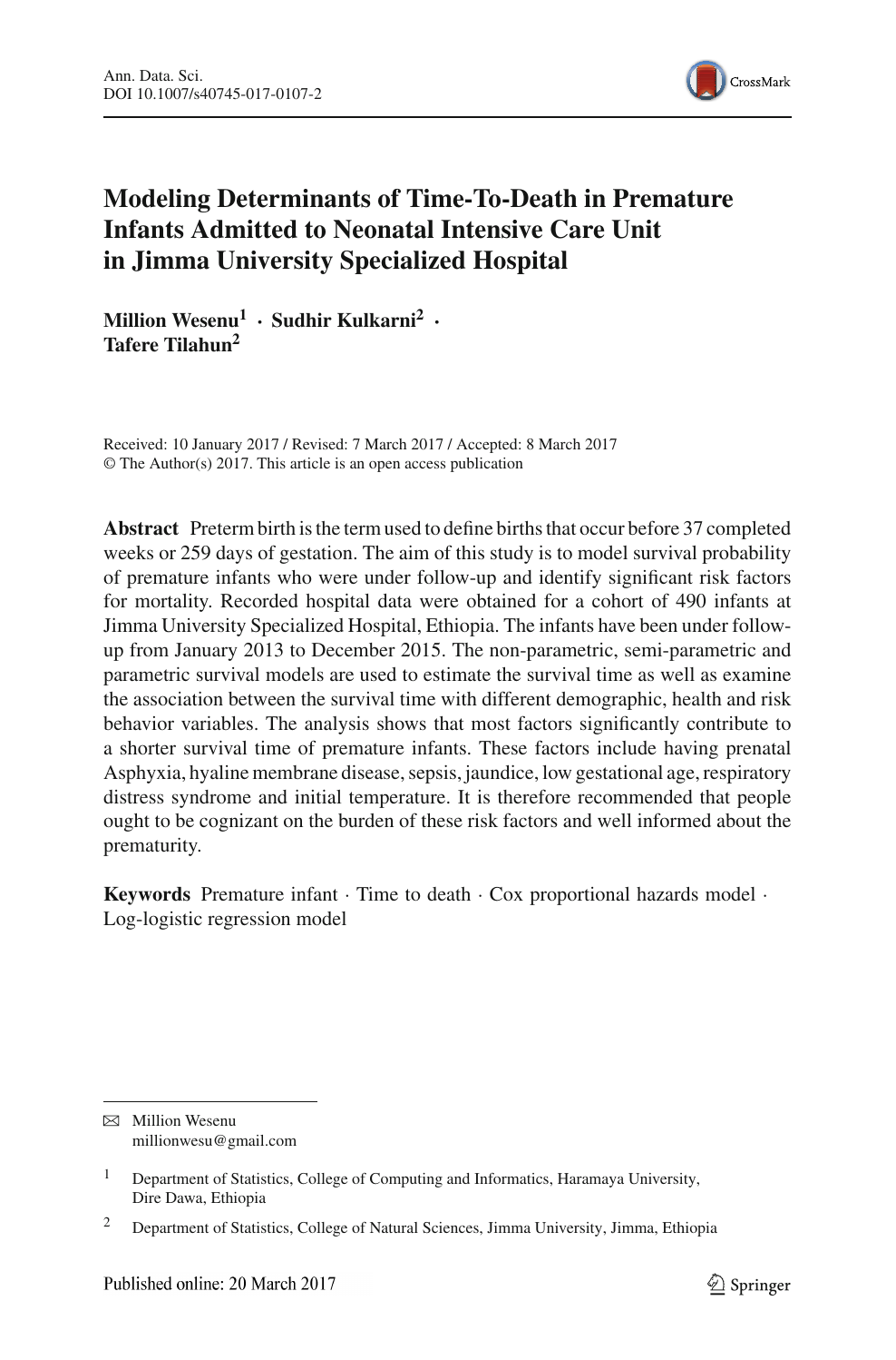Modeling Determinants of Time-To-Death in Premature Infants Admitted