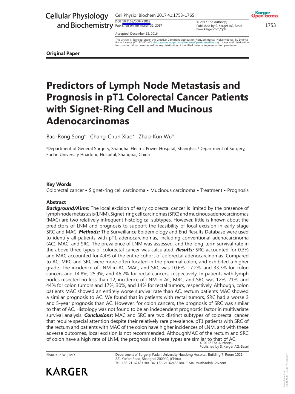 Predictors Of Lymph Node Metastasis And Prognosis In Pt1 Colorectal Cancer Patients With Signet Ring Cell And Mucinous Adenocarcinomas Topic Of Research Paper In Clinical Medicine Download Scholarly Article Pdf And Read