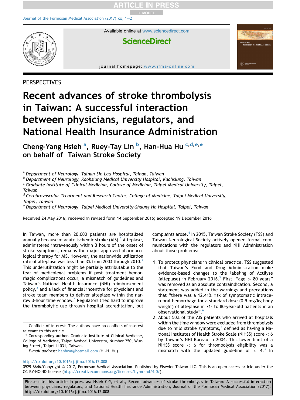 Recent advances of stroke thrombolysis in Taiwan: A