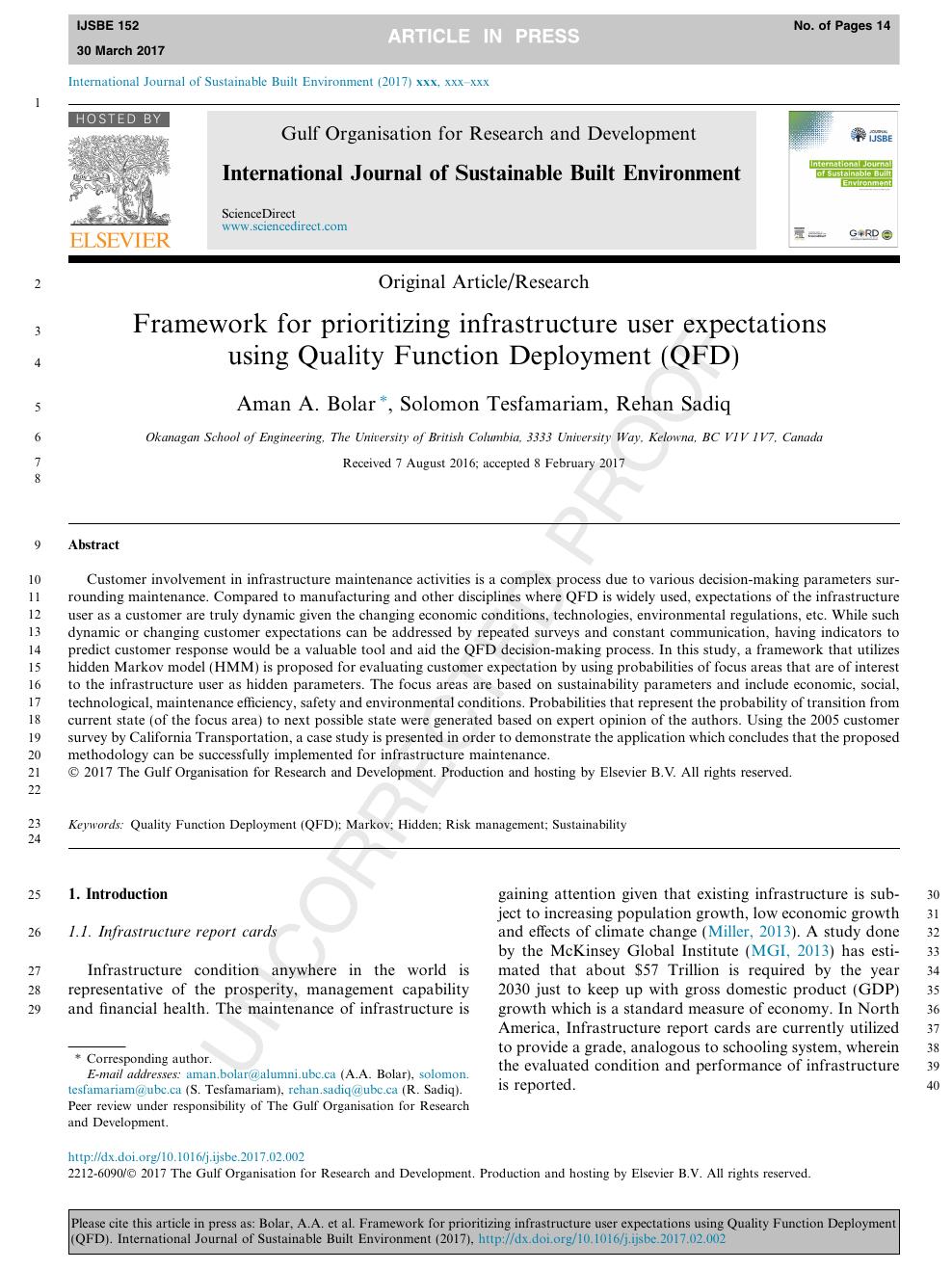 Framework for prioritizing infrastructure user expectations using