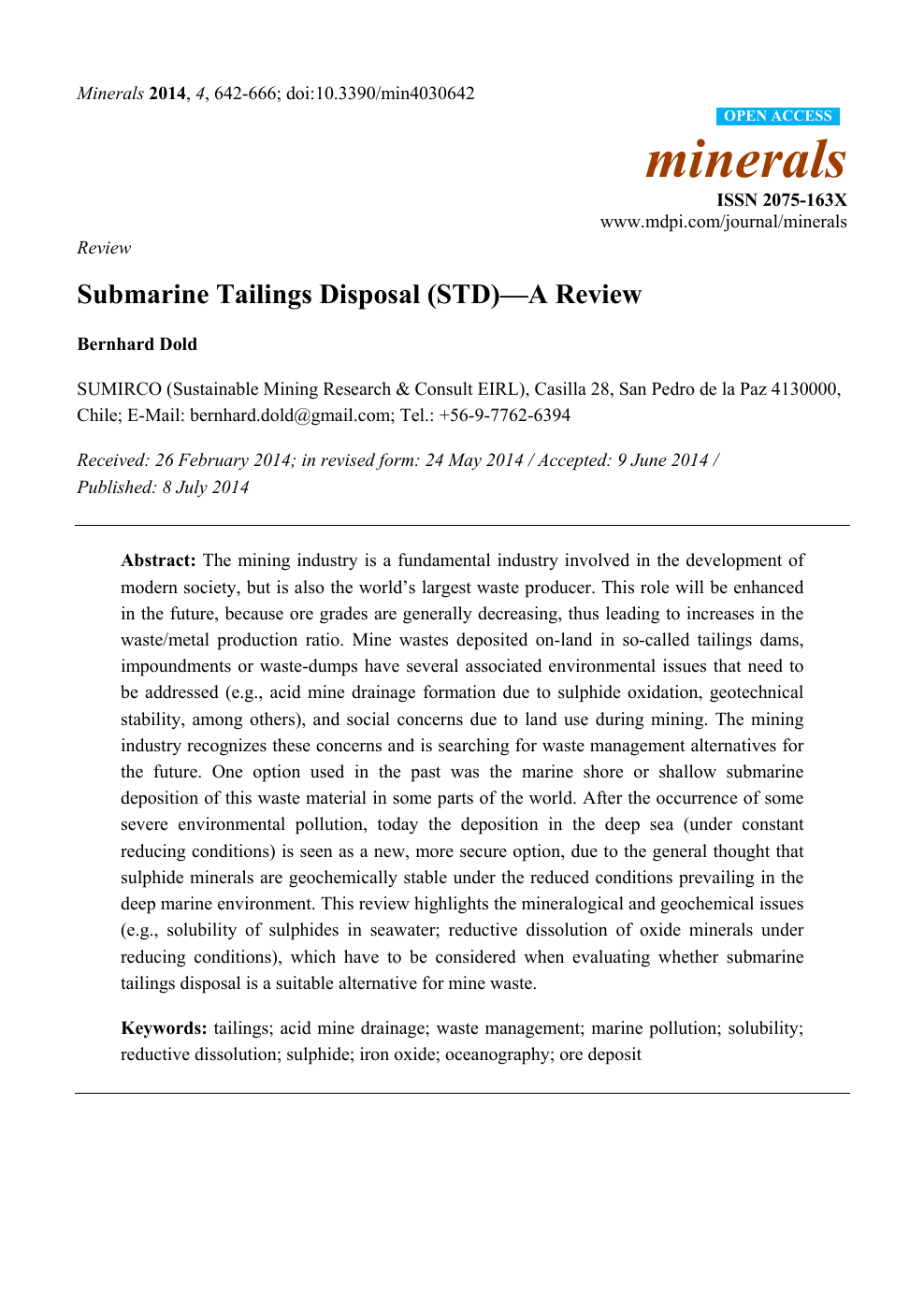 Submarine Tailings Disposal (STD)—A Review – topic of