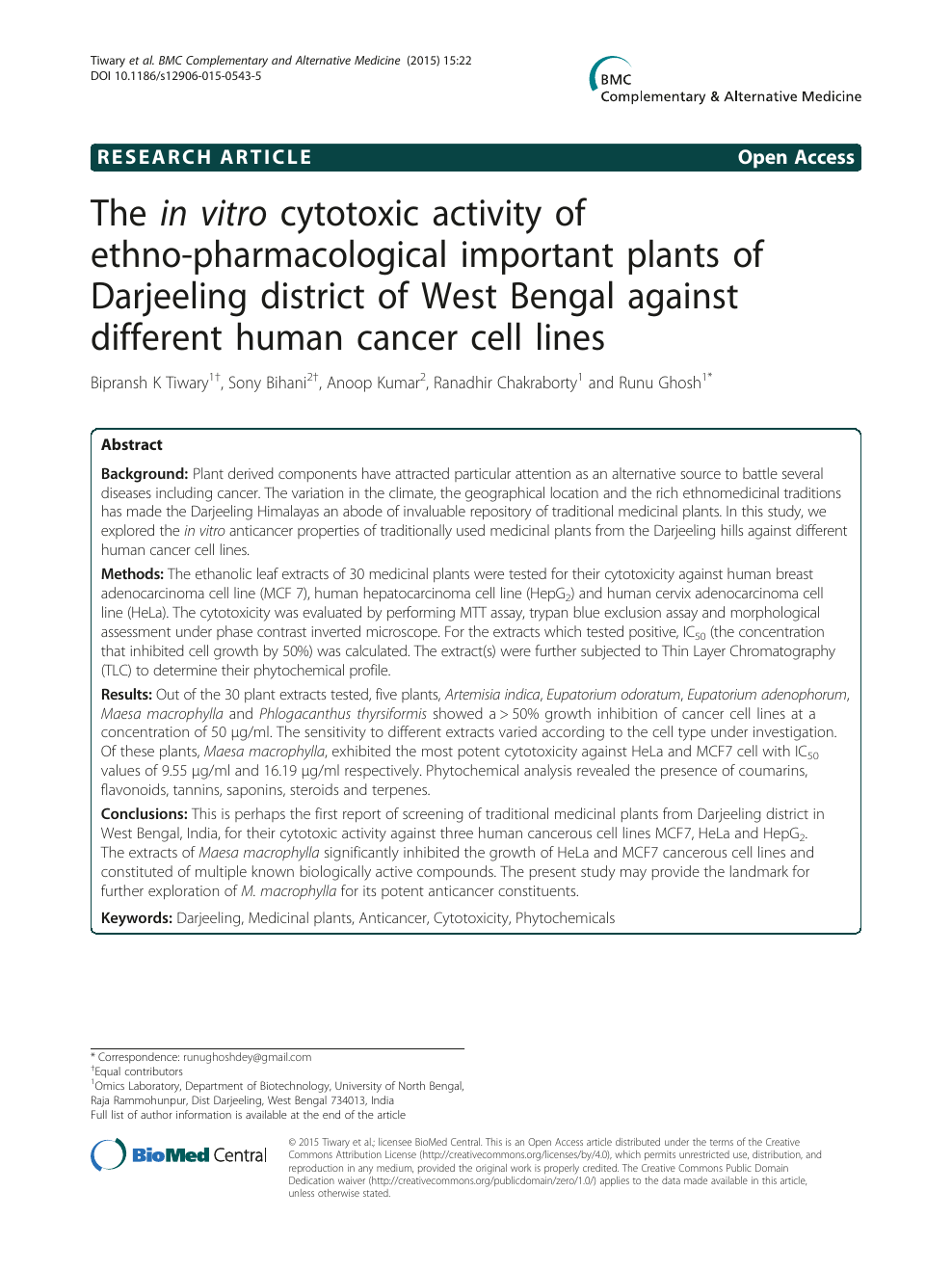 The in vitro cytotoxic activity of ethno-pharmacological important