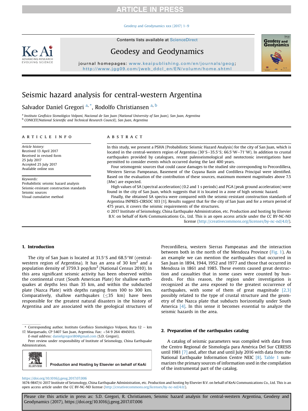 Seismic hazard analysis for central-western Argentina – topic of