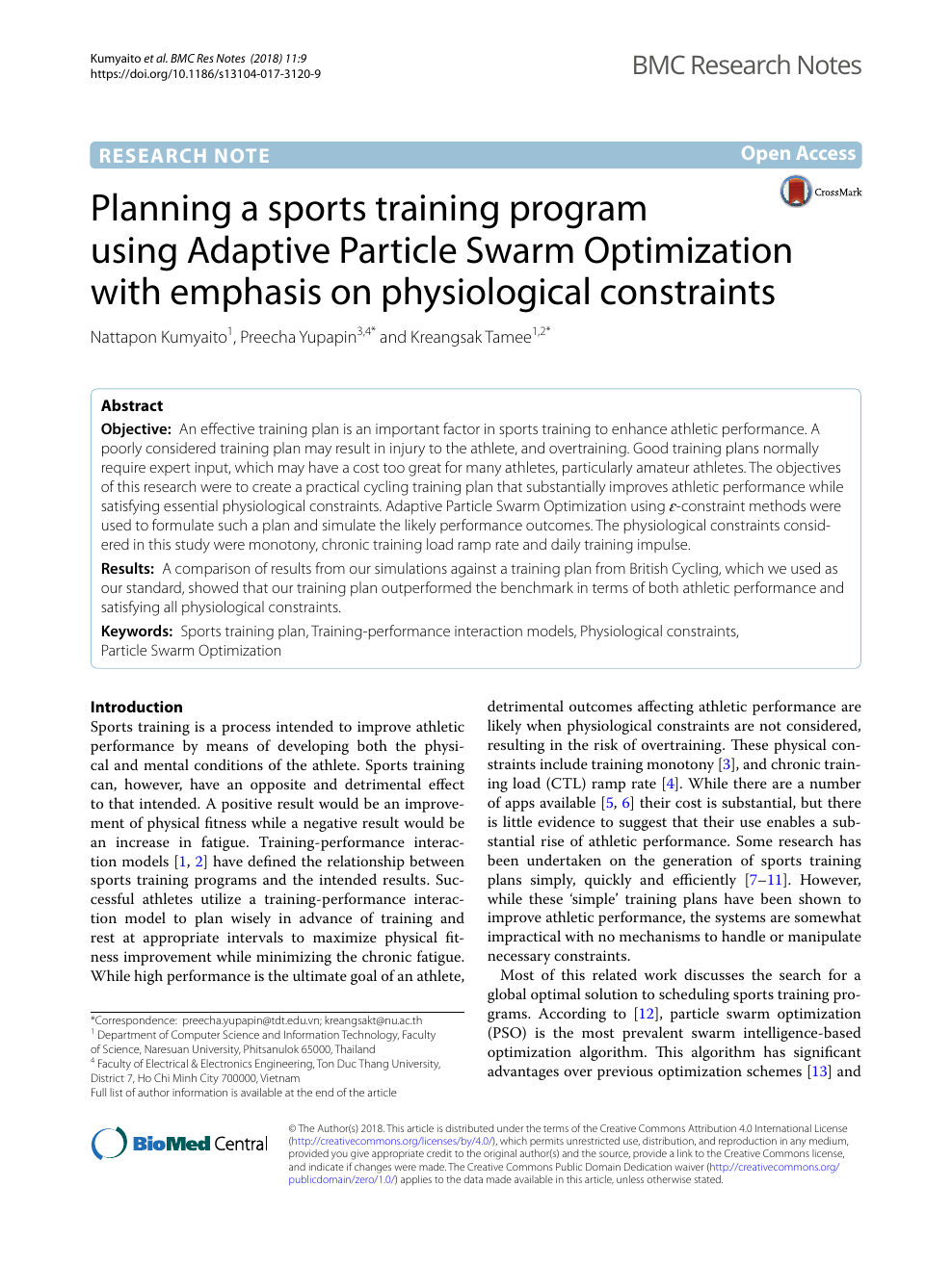 Planning A Sports Training Program Using Adaptive Particle Swarm