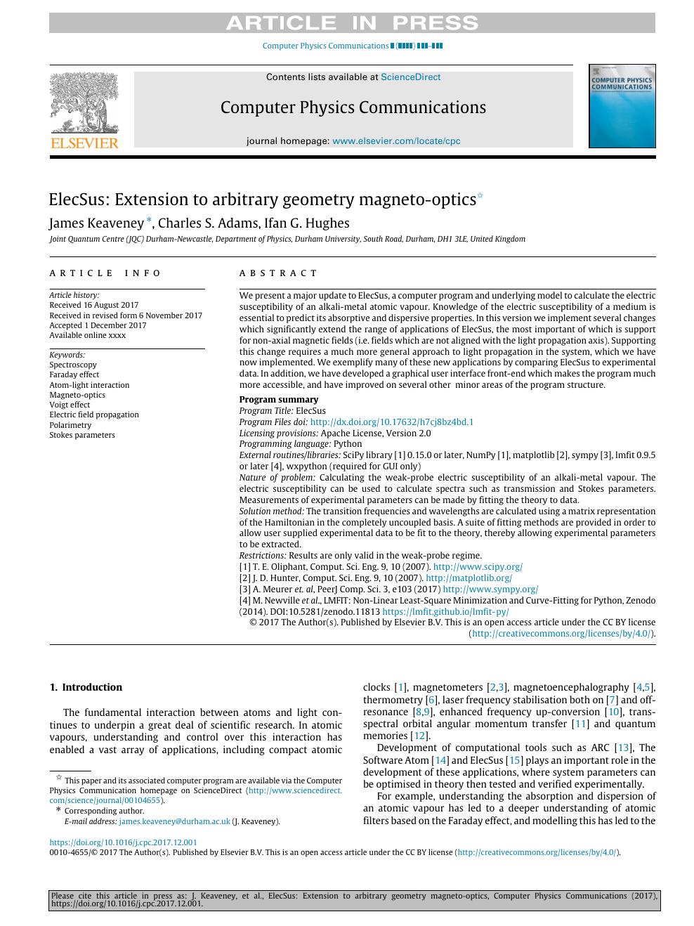 ElecSus: Extension to arbitrary geometry magneto-optics