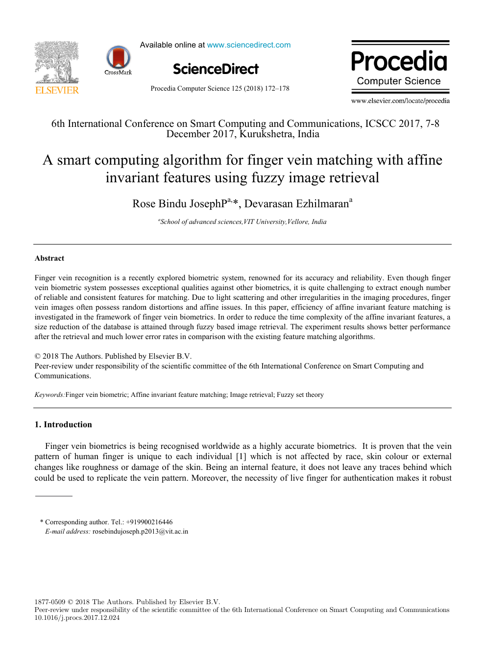A smart computing algorithm for finger vein matching with