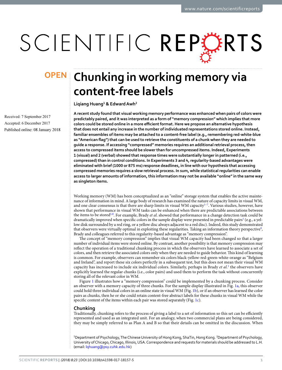Chunking in working memory via content-free labels – topic of