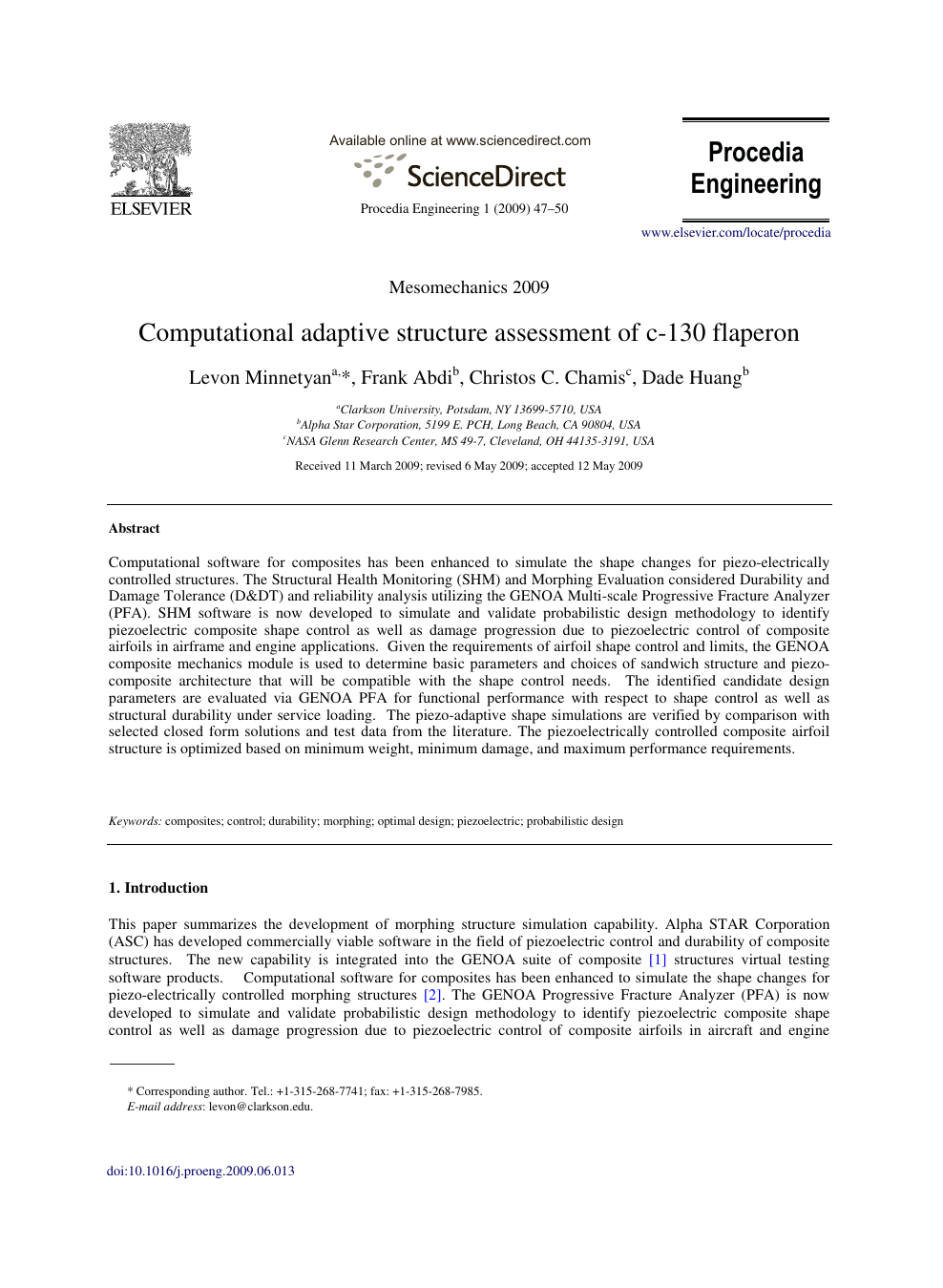 Computational adaptive structure assessment of c-130 flaperon