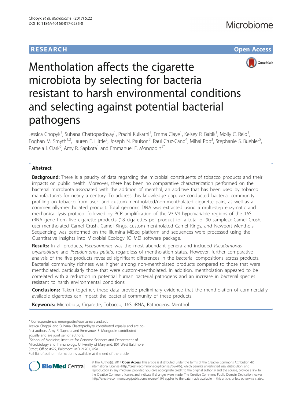 Mentholation affects the cigarette microbiota by selecting