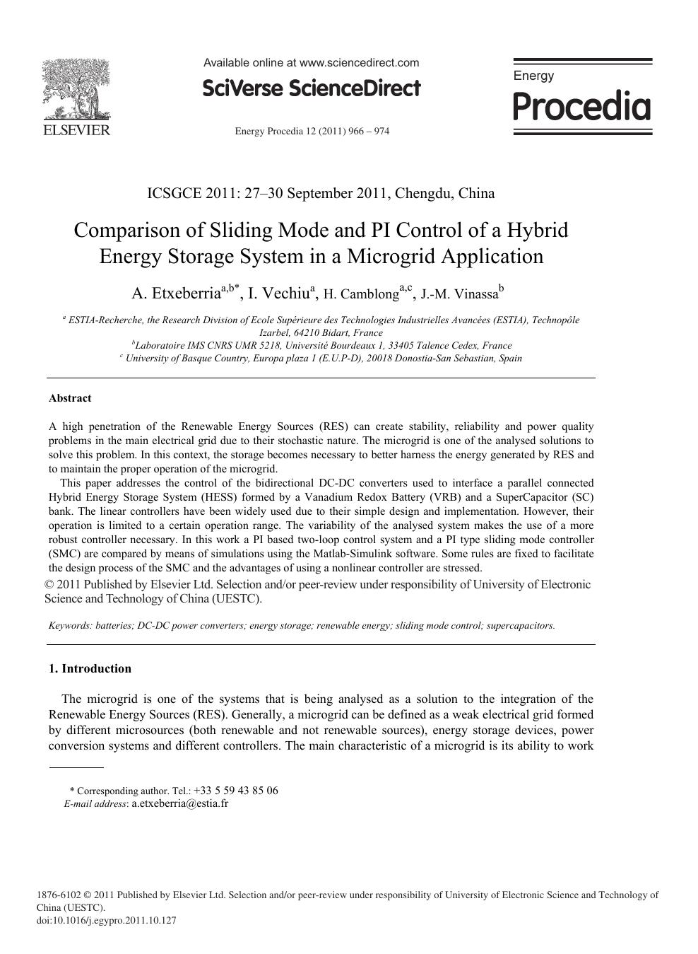 Comparison of Sliding Mode and PI Control of a Hybrid Energy