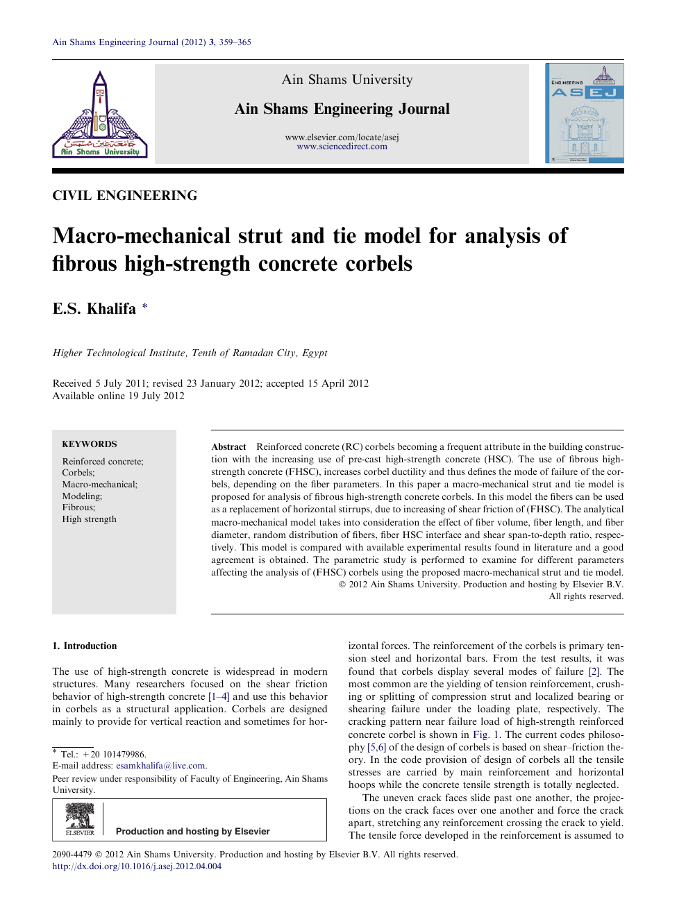 Macro-mechanical strut and tie model for analysis of fibrous