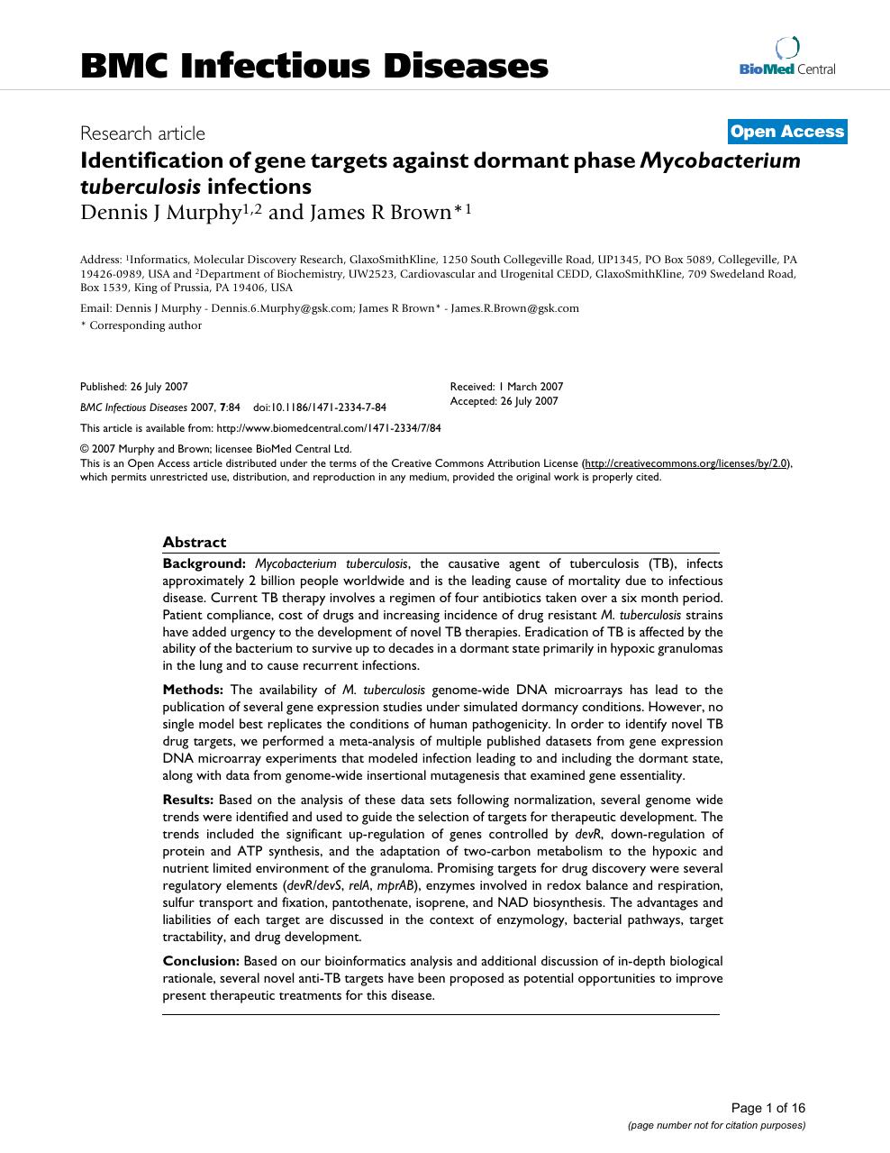 Identification of gene targets against dormant phase