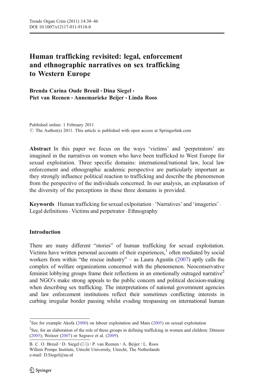 Human trafficking revisited: legal, enforcement and ethnographic narratives  on sex trafficking to Western Europe – topic of research paper in Law.  Download scholarly article PDF and read for free on CyberLeninka open
