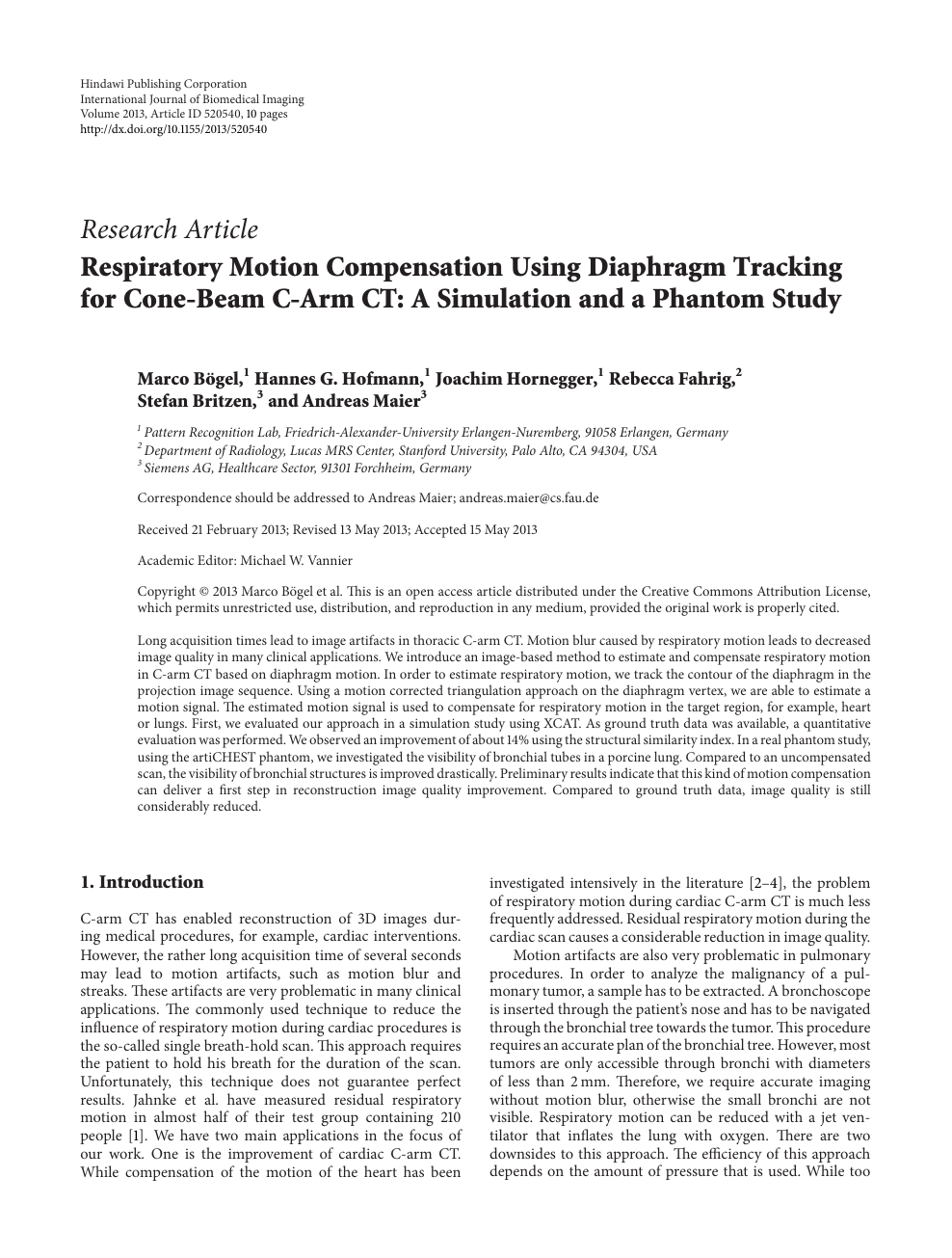 Respiratory Motion Compensation Using Diaphragm Tracking for