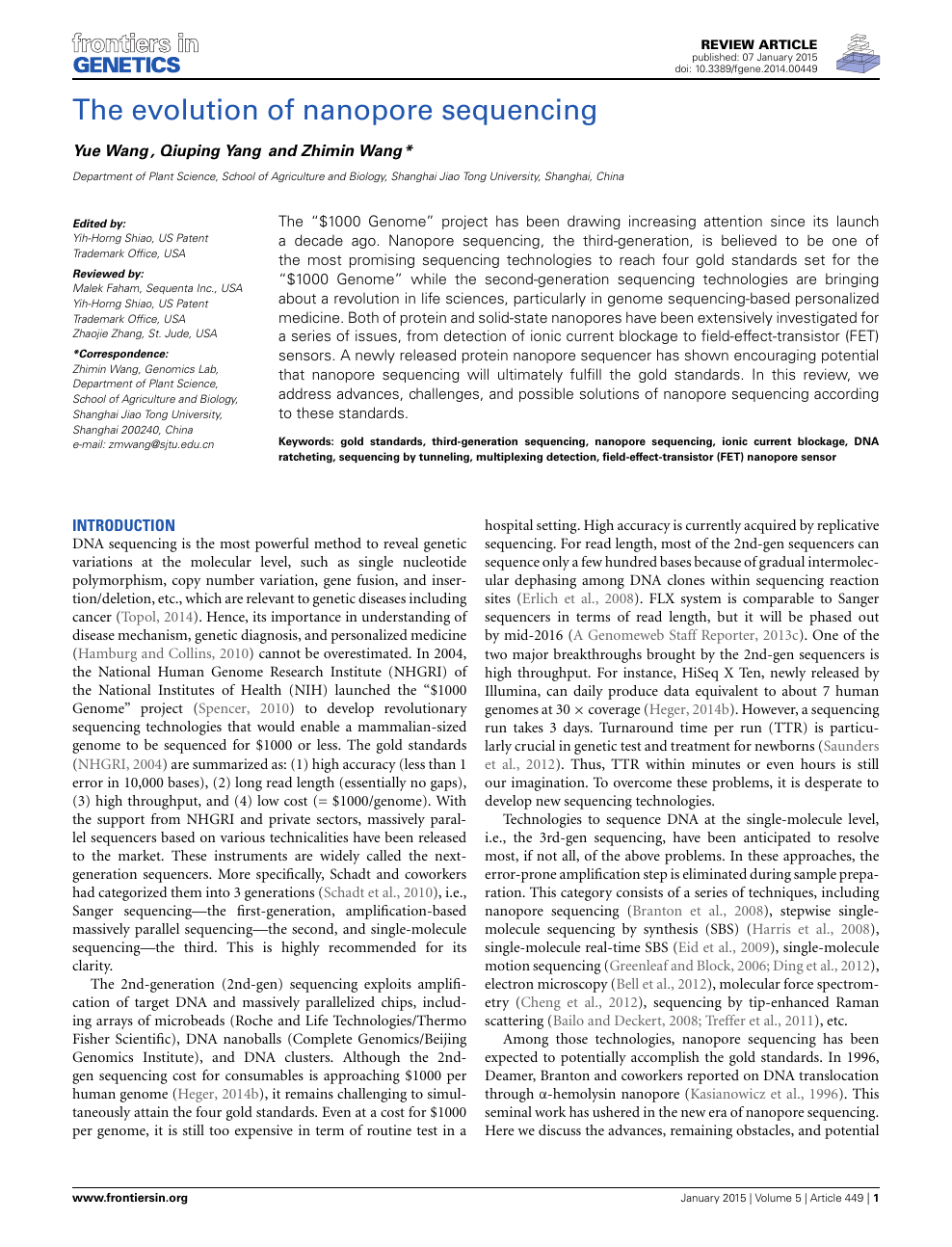 2d1d19c99 The evolution of nanopore sequencing – topic of research paper in ...