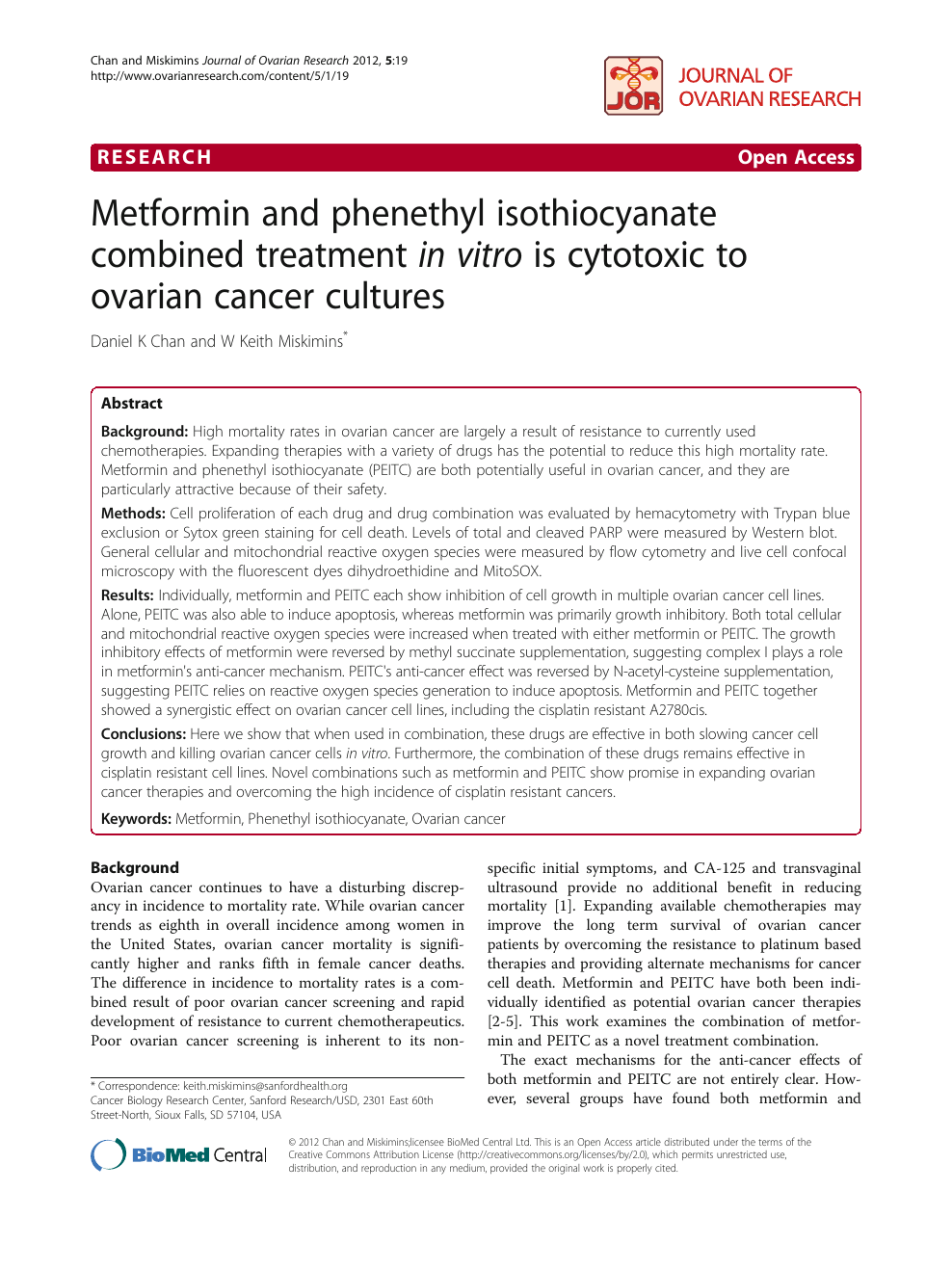 Metformin And Phenethyl Isothiocyanate Combined Treatment In Vitro Is Cytotoxic To Ovarian Cancer Cultures Topic Of Research Paper In Biological Sciences Download Scholarly Article Pdf And Read For Free On Cyberleninka