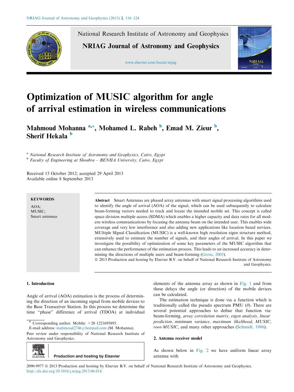 Optimization Of Music Algorithm For Angle Arrival Estimation In Smart Antennas Read Paper