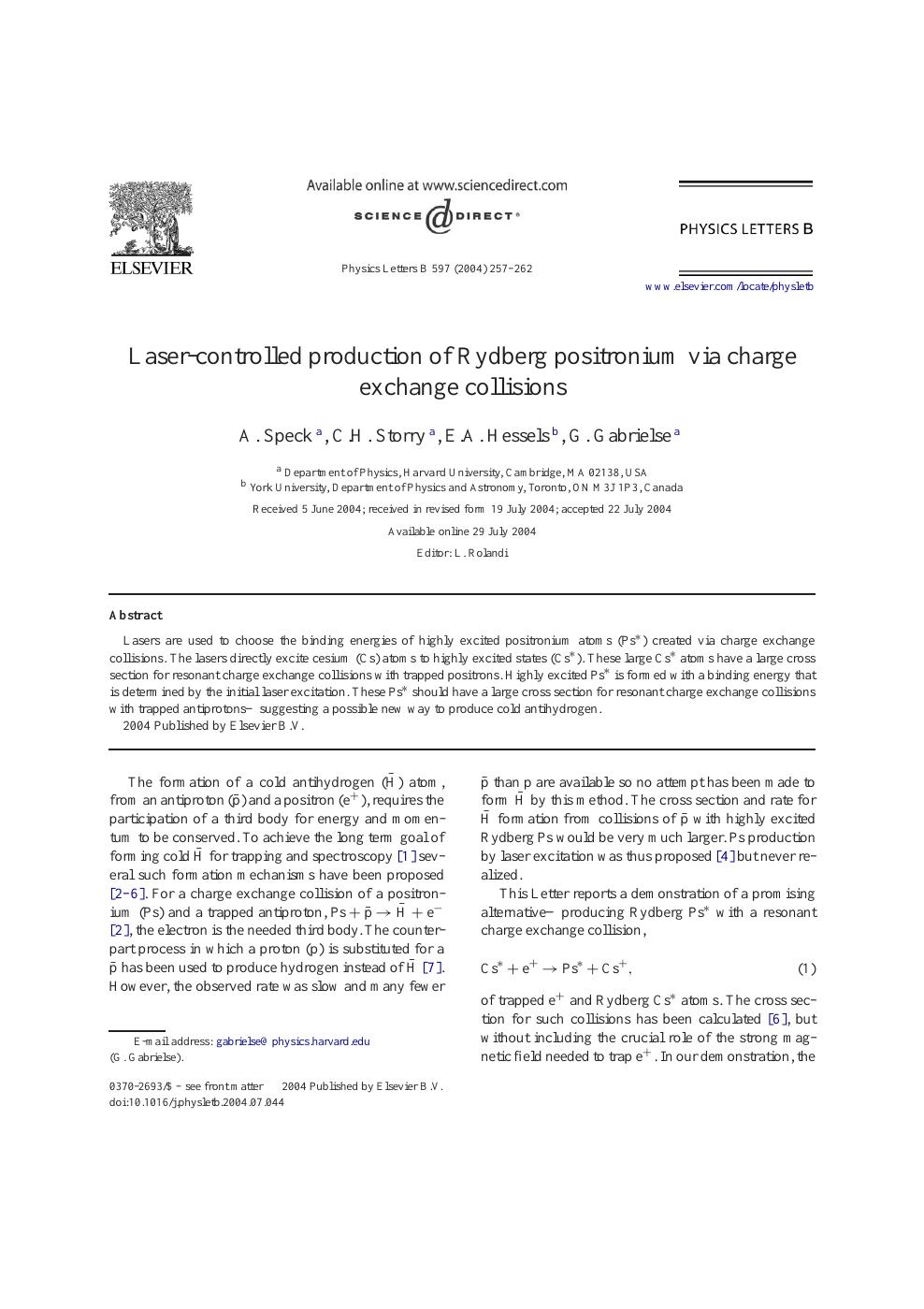 Laser-controlled production of Rydberg positronium via