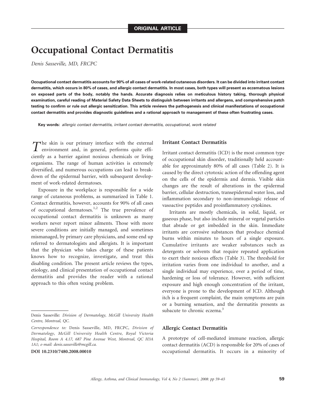 Occupational Contact Dermatitis – topic of research paper in