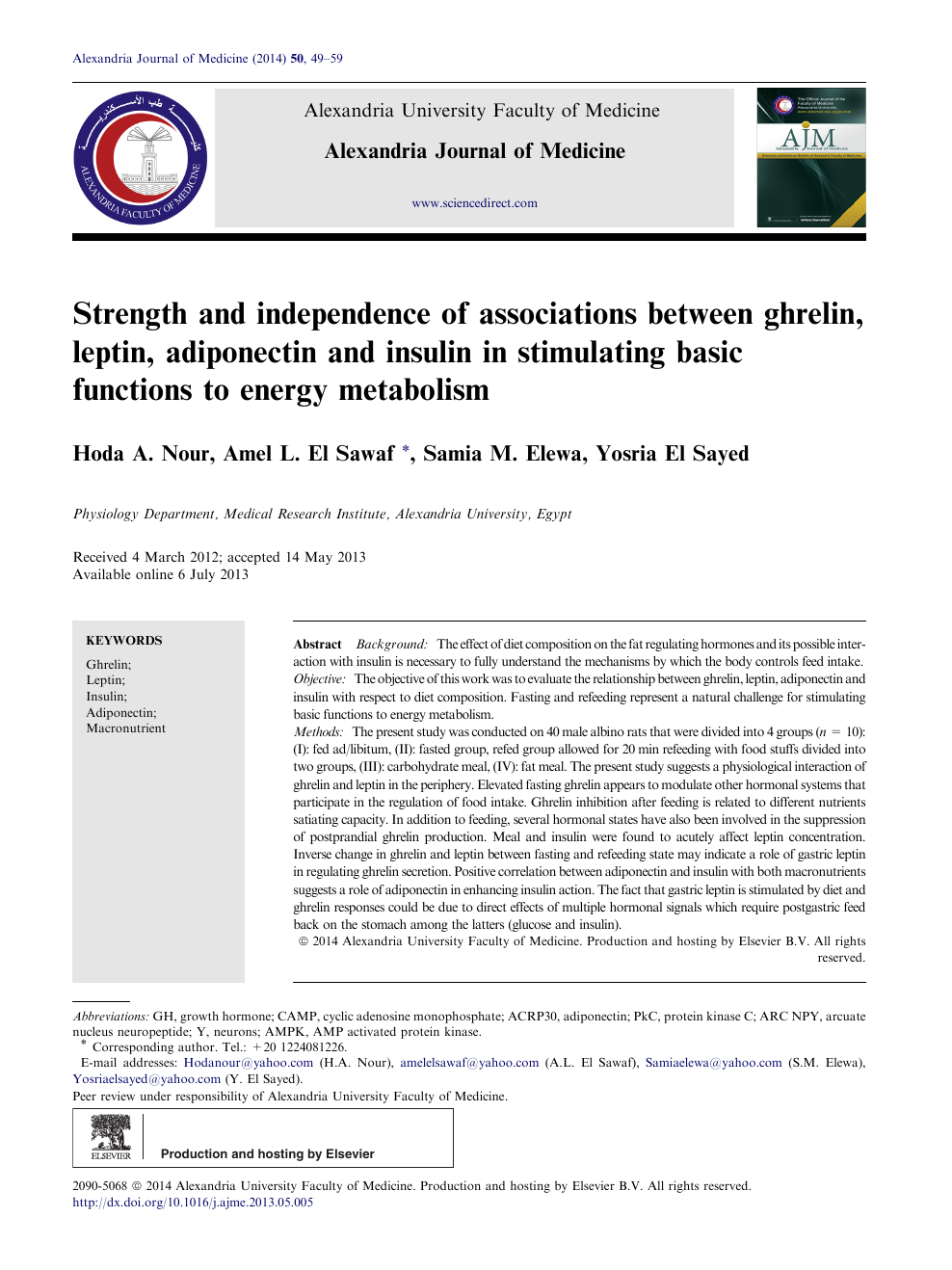 Strength and independence of associations between ghrelin, leptin
