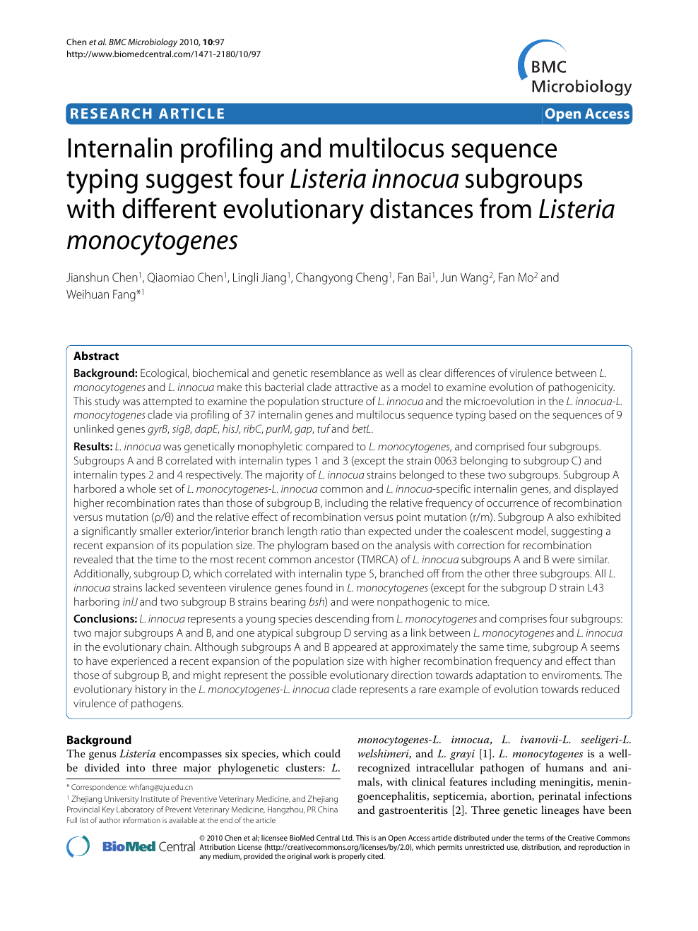 Internalin Profiling And Multilocus Sequence Typing Suggest Four Listeria Innocua Subgroups With Different Evolutionary Distances From Monocytogenes Topic Of Research Paper In Biological Sciences Download Scholarly Article Pdf Read