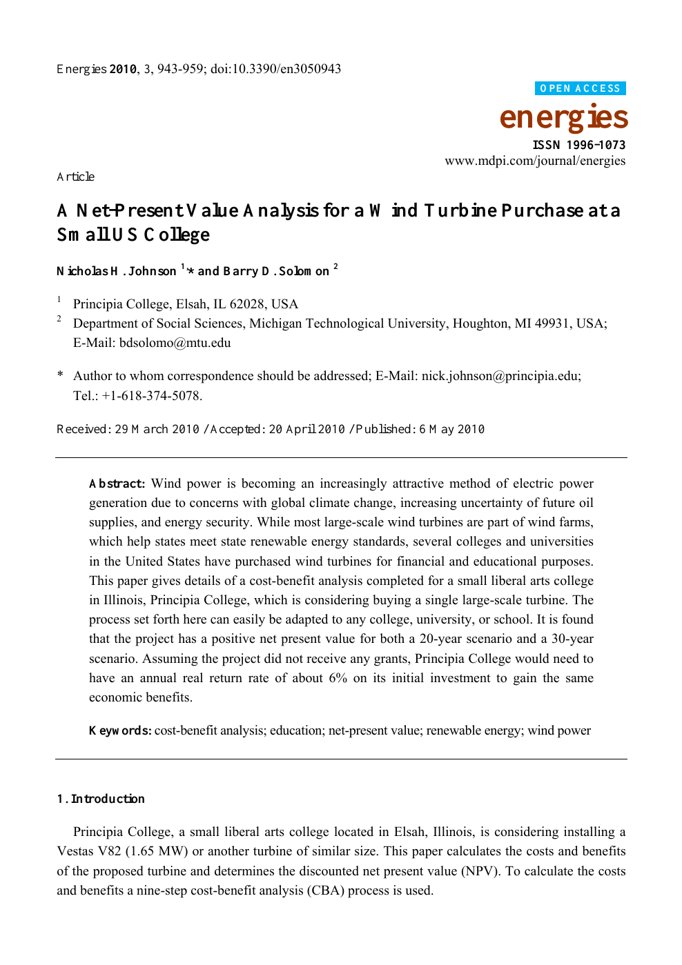 A Net-Present Value Analysis for a Wind Turbine Purchase at