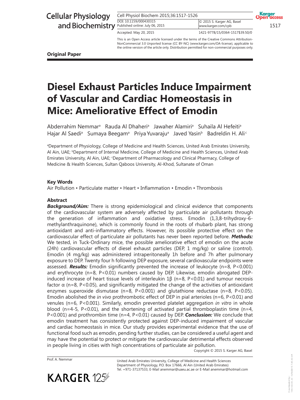 Diesel Exhaust Particles Induce Impairment of Vascular and Cardiac