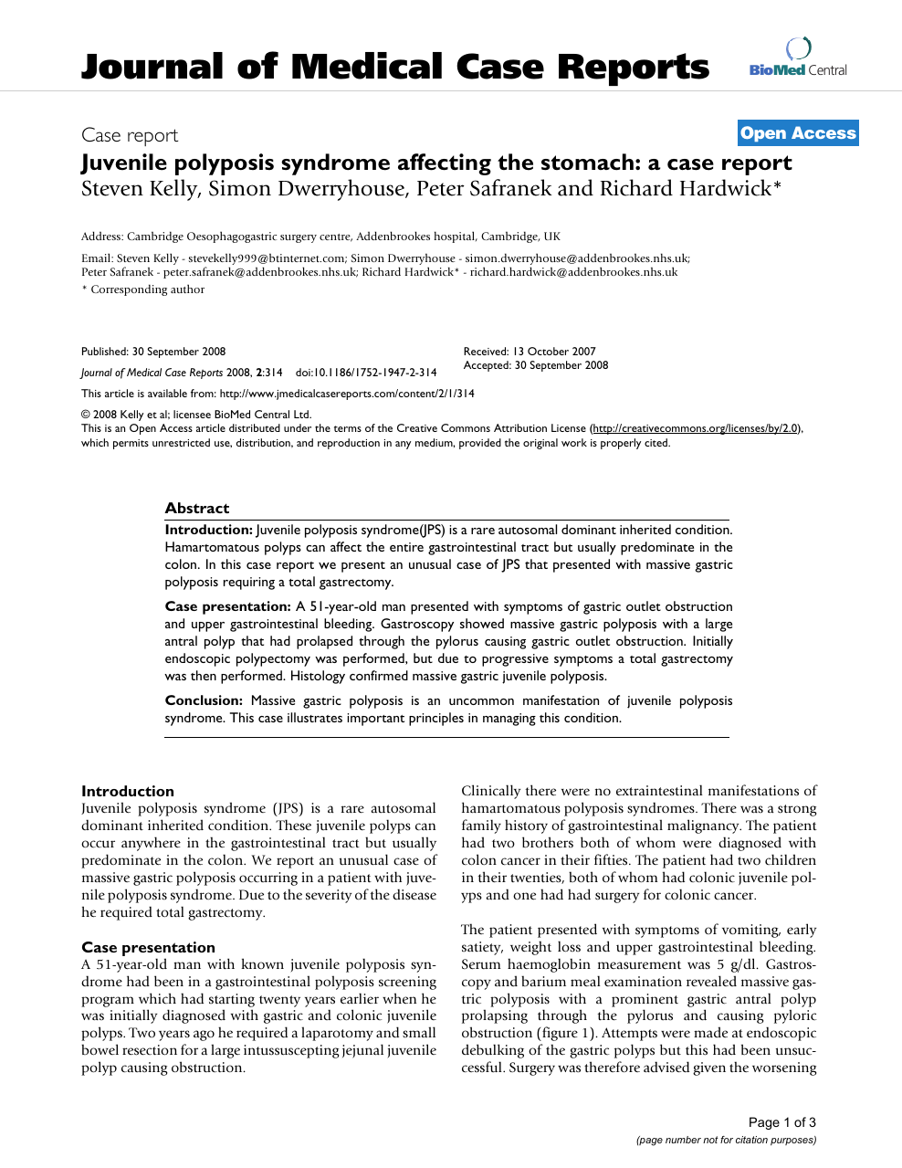 Juvenile Polyposis Syndrome Affecting The Stomach A Case Report Topic Of Research Paper In Clinical Medicine Download Scholarly Article Pdf And Read For Free On Cyberleninka Open Science Hub
