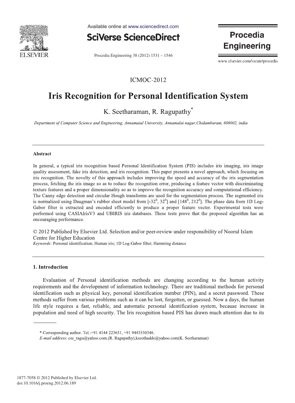 Iris Recognition for Personal Identification System – topic