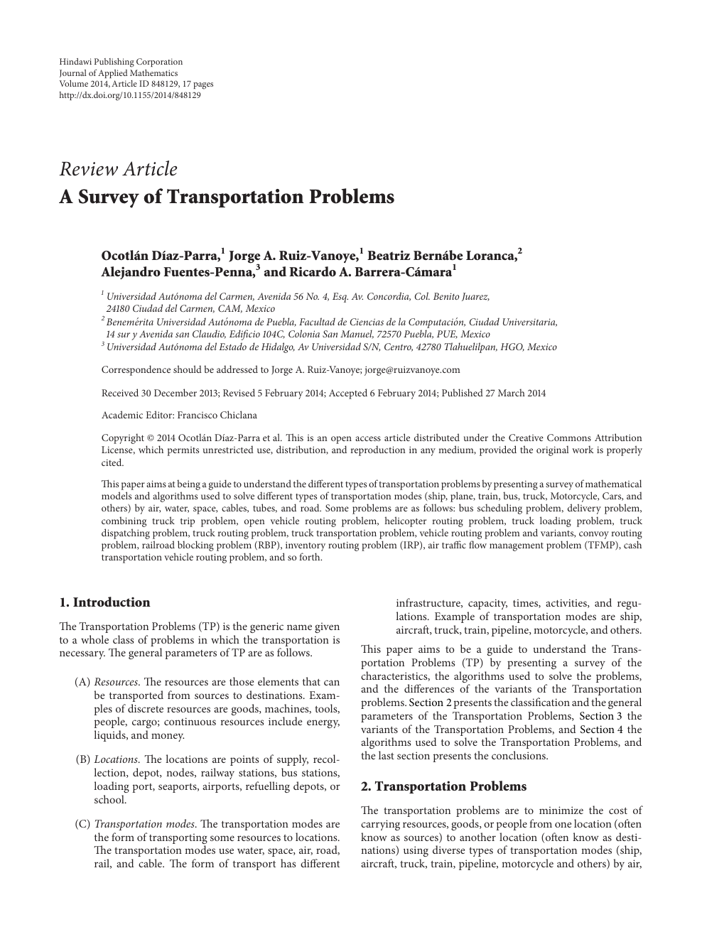 A Survey of Transportation Problems – topic of research paper in
