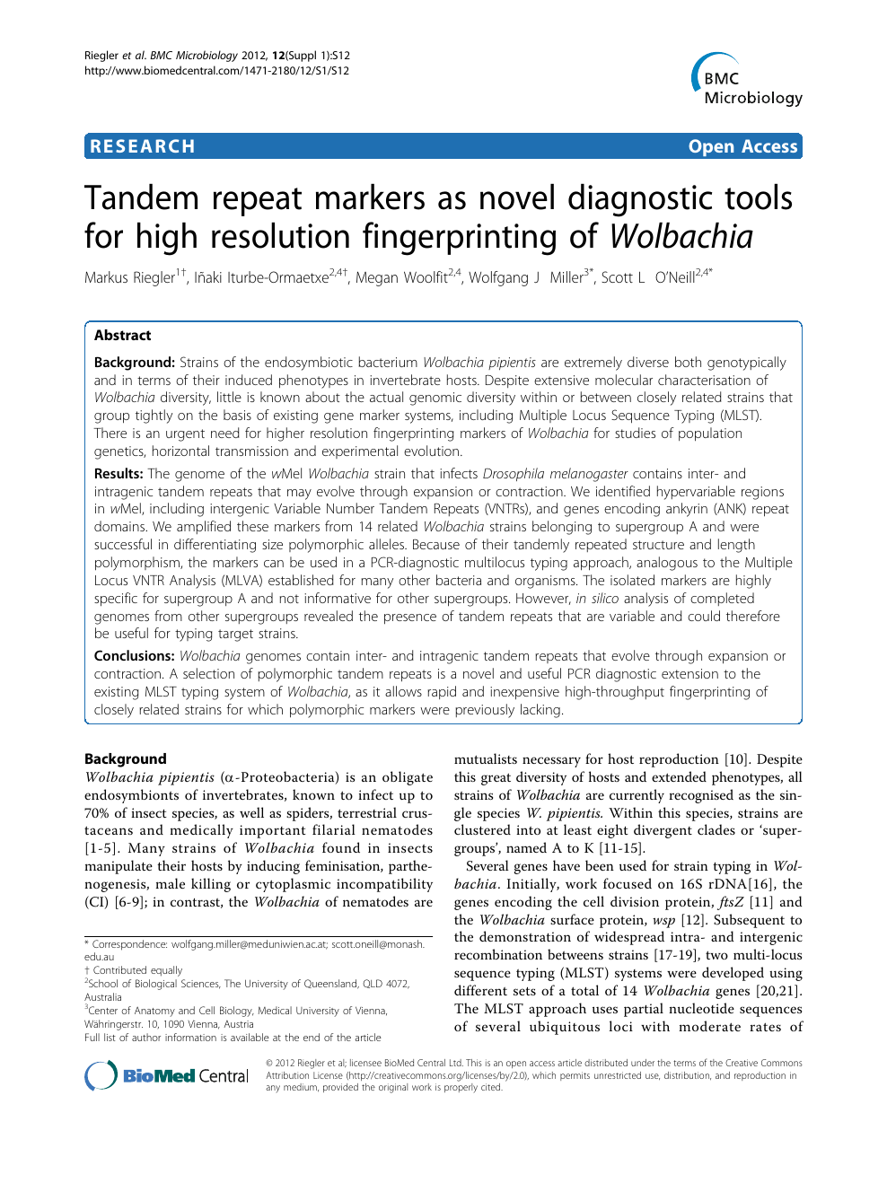 Tandem Repeat Markers As Novel Diagnostic Tools For High Resolution Fingerprinting Of Wolbachia Topic Of Research Paper In Biological Sciences Download Scholarly Article Pdf And Read For Free On Cyberleninka Open