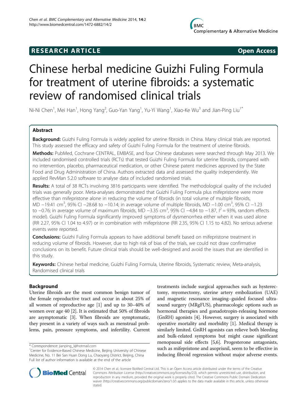 Chinese herbal medicine Guizhi Fuling Formula for treatment of