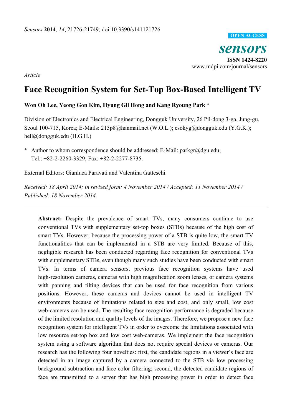 Face Recognition System for Set-Top Box-Based Intelligent TV