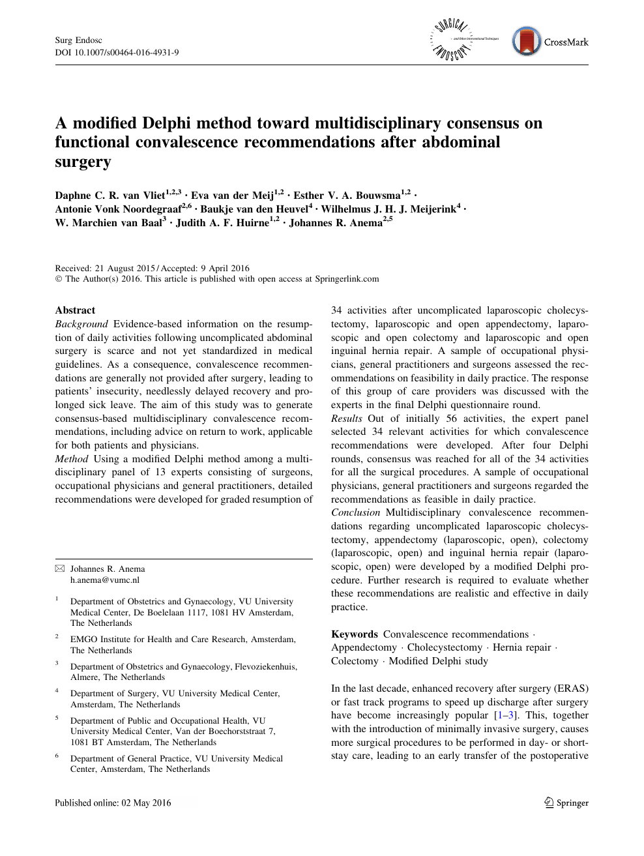 A modified Delphi method toward multidisciplinary consensus