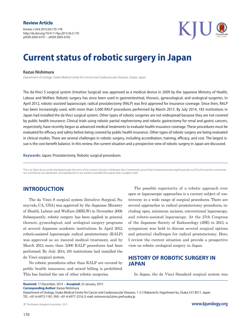 Current Status Of Robotic Surgery In Japan Topic Of Research
