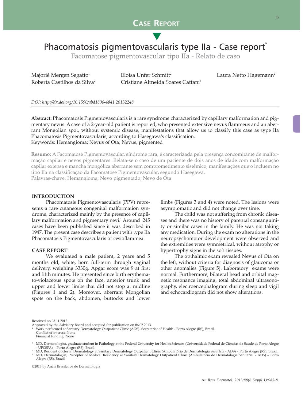 Phacomatosis pigmentovascularis type IIa - case report – topic of