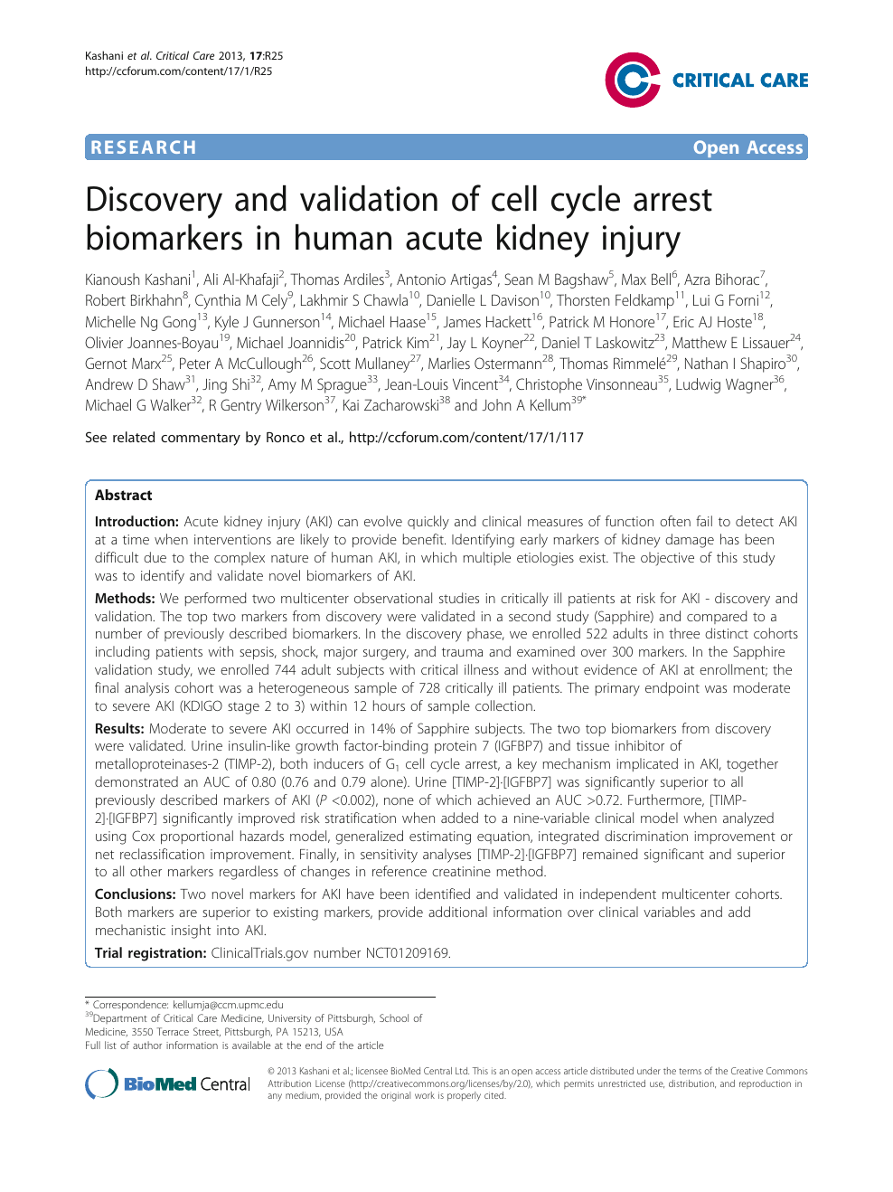 Discovery and validation of cell cycle arrest biomarkers in