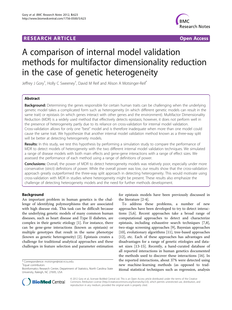 A comparison of internal model validation methods for