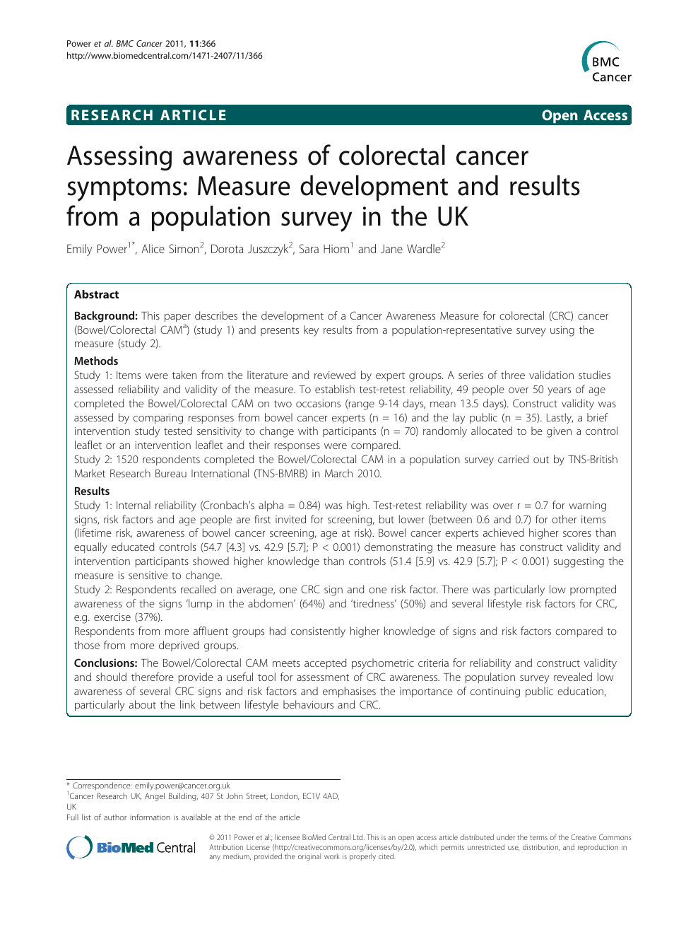 Assessing awareness of colorectal cancer symptoms: Measure
