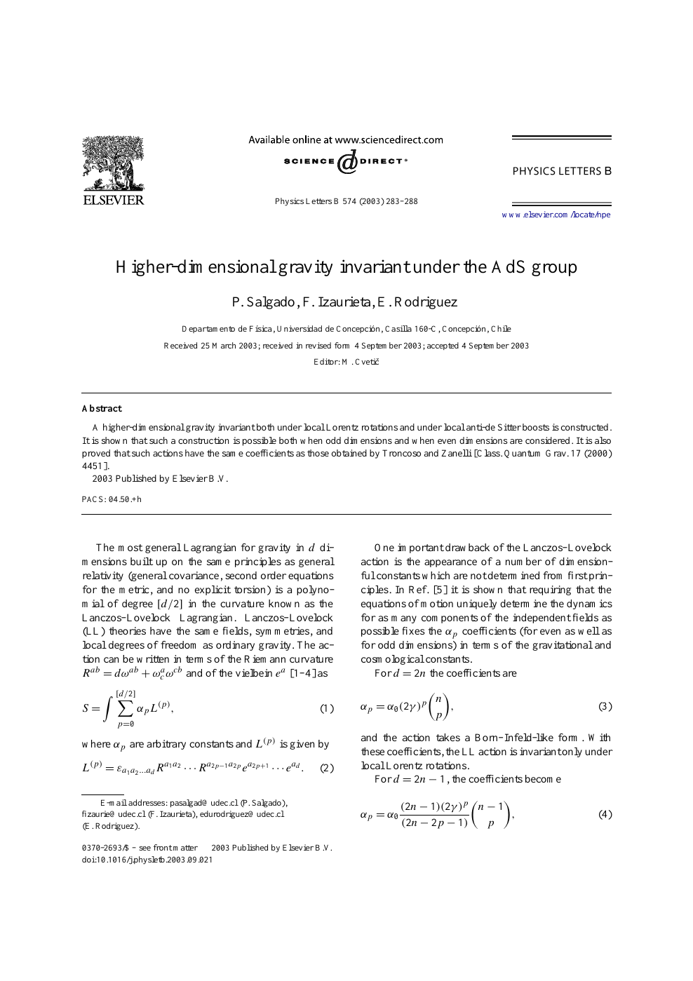 Higher-dimensional gravity invariant under the AdS group