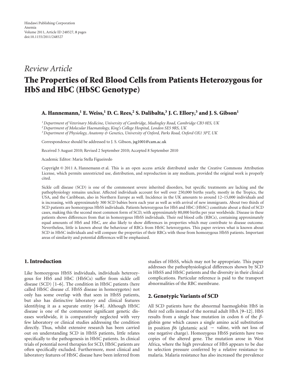 The Properties of Red Blood Cells from Patients Heterozygous for HbS