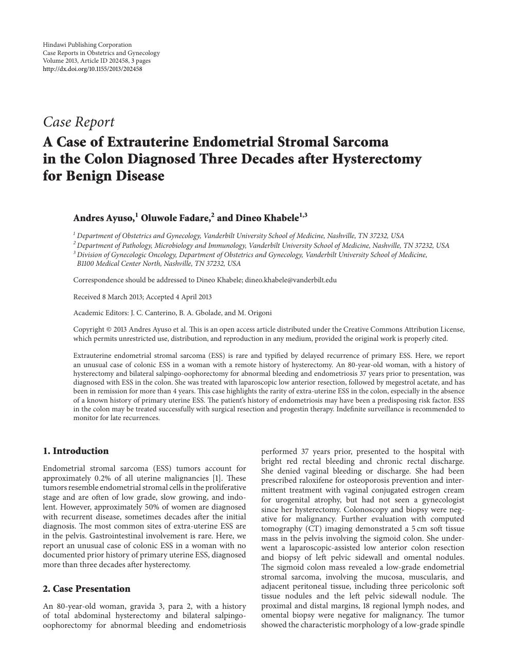 A Case of Extrauterine Endometrial Stromal Sarcoma in the