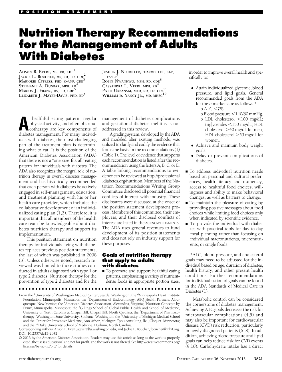 Nutrition Therapy Recommendations for the Management of