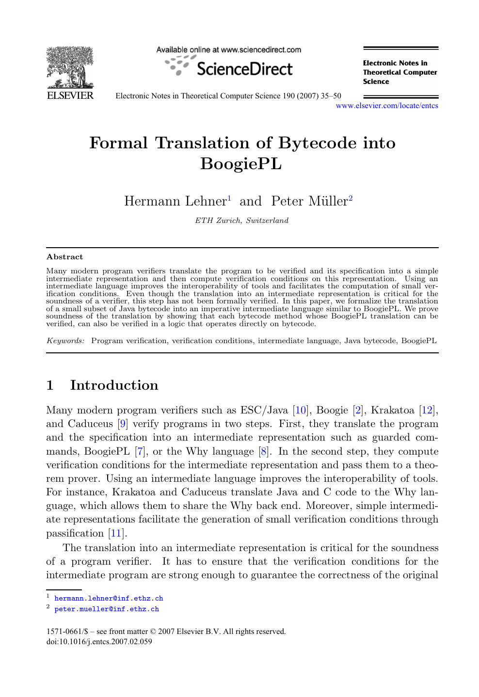 Formal Translation of Bytecode into BoogiePL – topic of