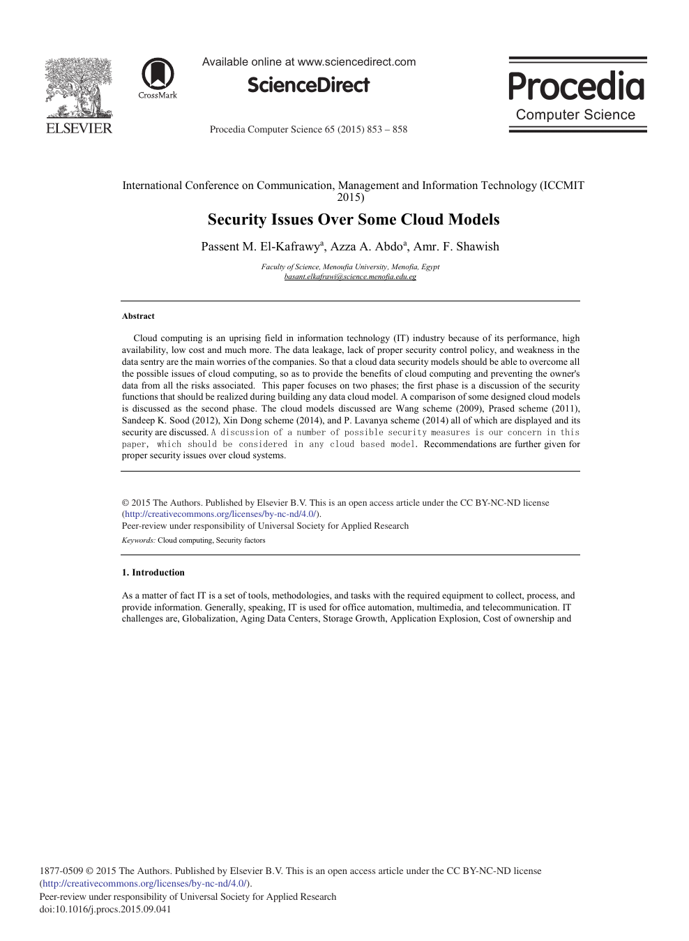 Security Issues Over Some Cloud Models – topic of research paper in  Computer and information sciences. Download scholarly article PDF and read  for free on CyberLeninka open science hub.