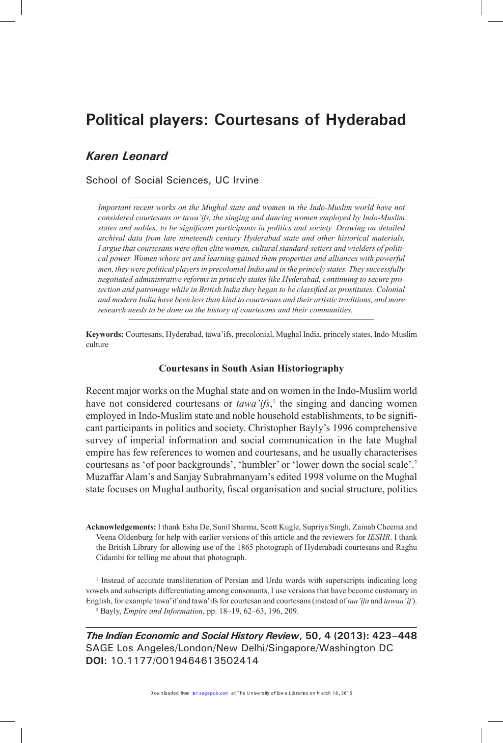 Political players: Courtesans of Hyderabad – topic of research paper