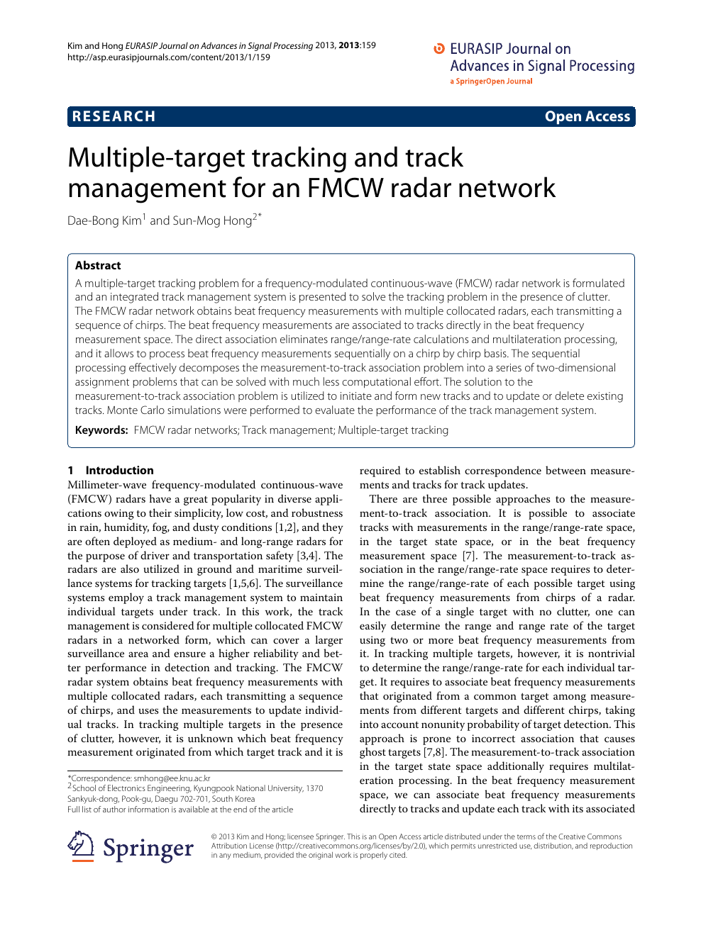 Multiple-target tracking and track management for an FMCW