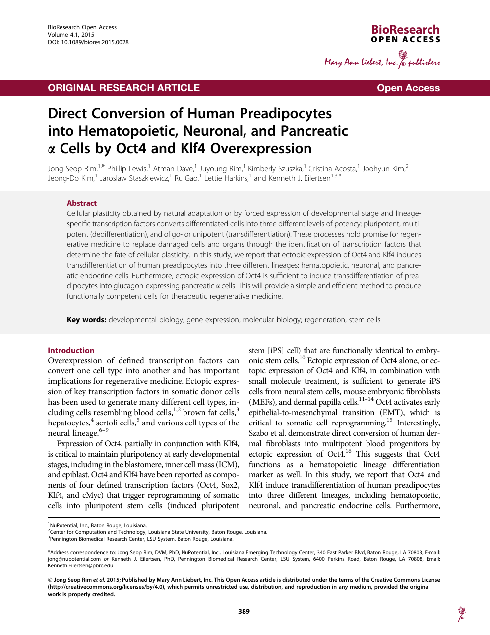 Direct Conversion of Human Preadipocytes into Hematopoietic